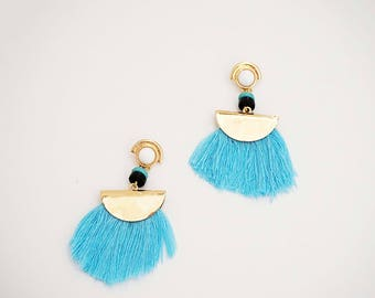 Gold and Blue Tassel Post Stud Tribal Statement Earrings