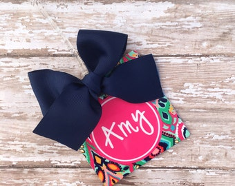 Preppy Colorful Ikat Personalized/Monogrammed Luggage/Bag Tag