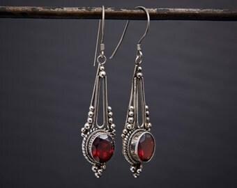 Garnet Earrings, Garnet Drops, Garnet and Silver, January Birthstone, Birthstone Jewellery, Faceted Garnet, Sterling Silver