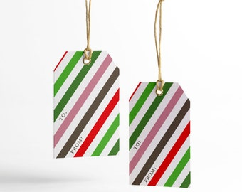 Multicolor Gift Tags, Multicolor Stripes, Merry Christmas, Printable Gift Tags