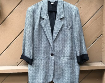 80s Tweed Oversized Blazer Jacket