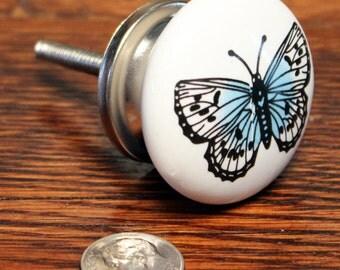 Butterfly Ceramic Knob - Ceramic Dresser Knob - Dresser Drawer Knobs - Dresser Knob - Butterfly Knob - Furniture Hardware - Girls Room Decor