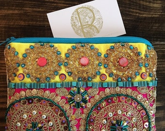 Embellished Bohemian Clutch. Gold and Pink Clutch