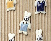 5 Bunny Rabbit Buttons, Bunny, Rabbit, Buttons, Handmade, Fully Washable, Incomparable Buttons, ButtonMad, L151