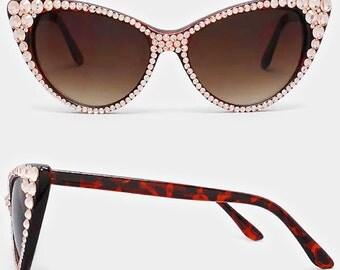 Vintage Style Retro Rhinestone Crystal Embelished Cat Eye Sun Glasses