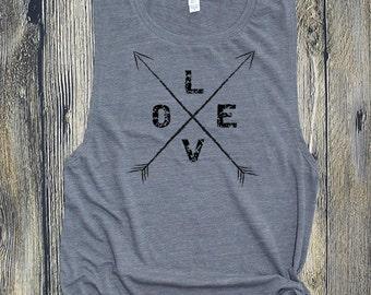 Muscle Tee, Love Arrows Workout Tank, Gym shirt, Yoga, Workout shirt, funny tank