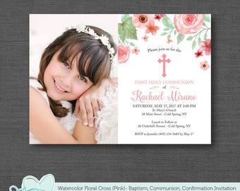 Watercolor Floral With Cross First Holy Communion Pink Invitation with Picture, Baptism, Christening, Confirmation, Girl, Flowers, 3W