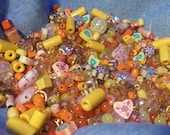 YELLOW & ORANGE Mix, Bead Destash Assortment, by the ounce. Bead Soup,assorted shades,shapes and sizes.Beading / Jewelry making supplies!