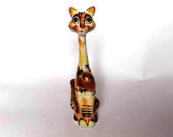 "Tall cat figurine ""Skittle"" Unusual cat sculpture Ceramic cat statuette Porcelain animal miniature Gift for cat lover Funny cat figure OOAK"
