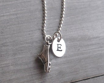 Track Shoe Necklace Hurdles Run Sterling Silver Track and Field Jewelry Personalized Jewelry Hand Stamped Initial Necklace Runner Gift