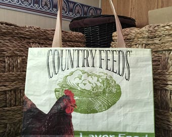 Recycled, Repurposed Country Feeds Scratch Grains Layer Feed Bag Tote With Commercial Webbing Straps,GROCERY BAG, Reusable Bag, Market Tote