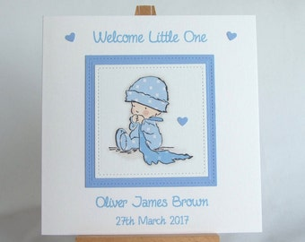 New baby card, personalised card, handmade baby card, new baby boy card, baby boy card,  blue baby card, congratulations new baby card,