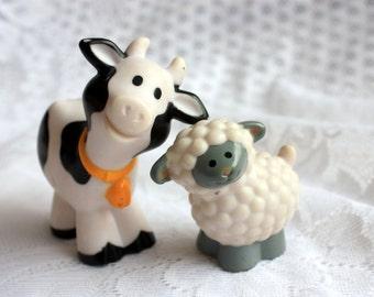 Fisher Price Sheep Fisher Price Cow Fisher Price  Lamb, Fisher Price Chunky Little People, chunky animals