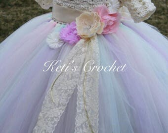 Tutu Dress,Pastel Rainbow Tutu Dress,Crochet Tutu Dress,Pastel Dress,Girls Wedding Dress,Girls Tutu Dress,Flower Girl Dress,Bridesmaid Dress