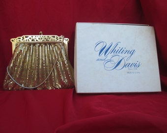 Vintage Mesh Frame Purse - Whiting and Davis Gold Mesh, Art Deco, Open Work Frame, Pierced Fram, Gold Evening Bag
