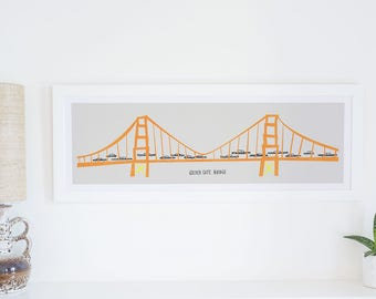 Golden Gate Bridge Panoramic Print, San Francisco Art, Vintage Cars, Orange And Yellow, Road Trip Poster, West Coast Art, Mid Century Print