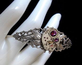 Steampunk Bracelet - Butterfly Wings - Victorian Mechanical Jewellery - Watch Movement - Clockwork - Purple  Amethyst Swarovski Rhinestones