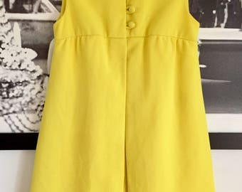 Vintage 60s Mod Canary Yellow Sleeveless High Waisted Textured Crepe Romper Jumpsuit w/ Open Skirt / Vest attached XS // S