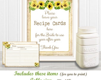 RECIPE Cards & SIGN for your Bridal Celebrations, 8 x 10 inch Bridal Sign with coordinating 4 x 6 inch Recipe Cards, diy Printables, 23BR