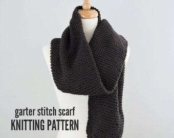 Garter Stitch Scarf Pattern, Easy Scarf Pattern, Knitted Scarf Pattern, Cozy Knitted Scarf Pattern, Knitting Pattern PDF