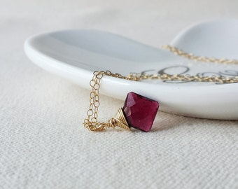 Pink Tourmaline Necklace, Small Tourmaline Pendant, 14k Gold Filled Necklace, Pink Tourmaline Jewelry, Gold Tourmaline Necklace