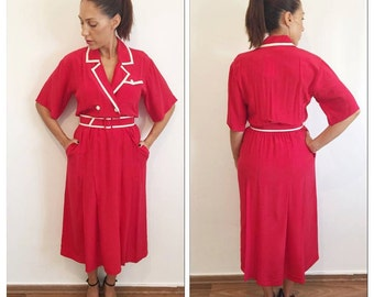 70s dress / vintage red dress / red secretary dress / dress with a belt / silk dress / dress with pockets / red and white dress / size M /