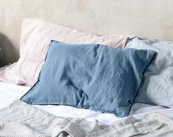 Set of 2 petrol blue linen pillowcases