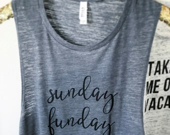 Sunday Funday Tank // brunch tee // gifts for her // bachelorette // funny tee // birthday gift // day drinking // muscle tee // mimosas