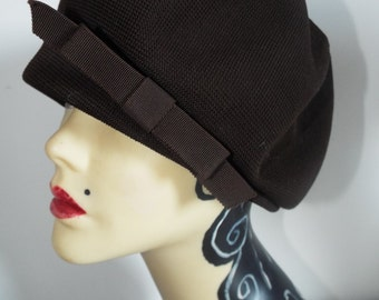 Vintage Hat  1950's Brown Demi Cloche with side Bow By Kangol