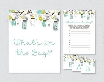 Mason Jar Baby Shower Bags Game Printable   Guess Whatu0027s In The Bag Game,  Aqua