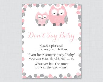 Pink and Gray Owl Baby Shower Don't Say Baby Game - Printable Diaper Pin Clothes Pin Game, Pink Glitter Owl Baby Shower Game Sign - 0069-P