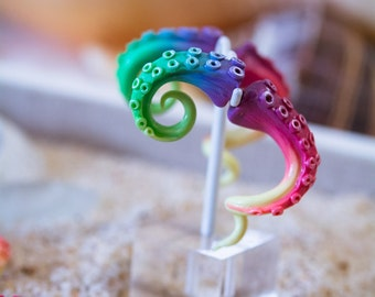 Fairy Rainbow fake gauge Tentacle earrings