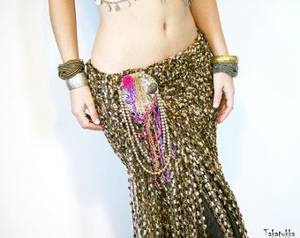 Flamenco Costume, Belly dance belt, Tribal Fusion Belt, Fringe Scarf, Dancing Shawl, Bellydance costume, Flamenco shawl, Gold hip scarf