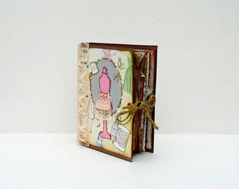Junk Journal, Handmade Book, Unique Keepsake, Sewing Themed Gift, Writers Journal, Planner Book, Mixed Paper Journal, Custom Notebook,