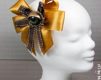 Steampunk hair accessories with eye (also known as portable brooch)