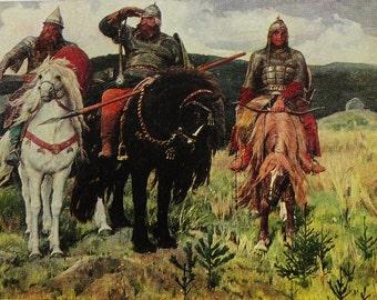 """Illustrator V. Vasnetsov. Vintage Soviet Postcard """"Bogatyrs"""" - 1975. Pravda Publ, Moscow. Russian painting, Art Print"""