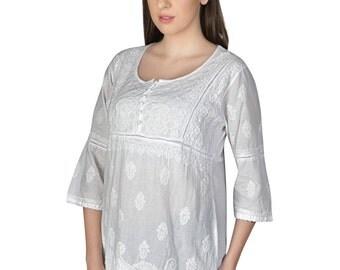 Indiankala4U Ladies ethnic  Chikankari Hand Embroidery Kurtis/Top/Tunic for comfortable summer wear  women/ladies/girls : Multiple Size