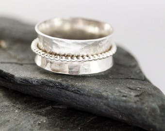 Dimpled Wide Sterling Silver Spinner Ring ~ spinning ring, hammered, texture, statement ring, meditation ring, anxiety ring, fidget ring