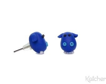 Blue Hippo Earrings - Tiny Animal Earrings - Handmade from Fimo/ Polymer Clay