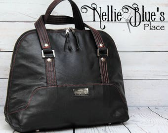 CUSTOM Leather Bowler Handbag/Purse - YOUR CHOICE of Leather and Water Resistant Cordura Lining