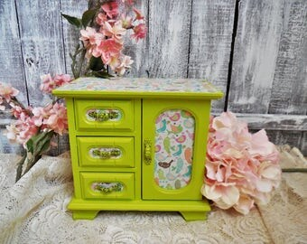 Lime Green Wooden Jewelry Box and Birds Hand Painted, Shabby Chic Jewelry Storage, Electric Neon