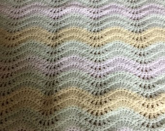 New hand crocheted baby blanket suitable for crib or cot. Can be made in any colour/combination