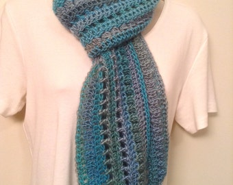 Teal and Green Crocheted Skinny Scarf