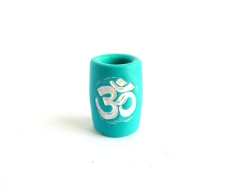 Turquoise Blue Dread Bead, Aum Symbol White, 8mm Hole, Fimo Polymer Clay, The Dread Bead Shop
