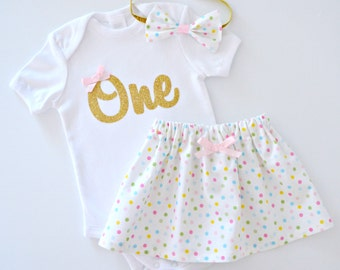 Baby Girl Pastel Rainbow Polka Dot Confetti & Gold Glitter 1st Birthday Outfit and Cake Smash Set | Short Sleeves