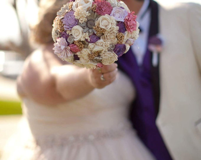 Large pink, purple, pale lavender, cream and brown rustic wedding BOUQUET