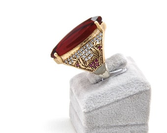 Turkish Ring Traditional Ottoman, 925 Sterling Silver Ring Red Ruby Gemstone ,Statement Vintage StyleRing