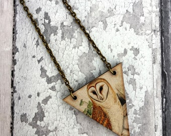 Barn Owl Necklace, Owl Charm, Owl Pendant, Bird Necklace, Bird Jewellery, Bird Jewelry, Owl Jewellery