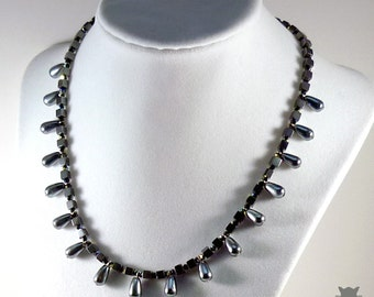 Hematite Collar Necklace, Swarovski Crystal Necklace, Gifts for Her