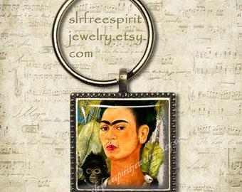 Frida Kahlo Self Portrait, Frida Kahlo Necklace, Frida Kahlo Keychain,  Photo Glass Pendant, Mexican Artist, Frida Gift, Frida with Monkey